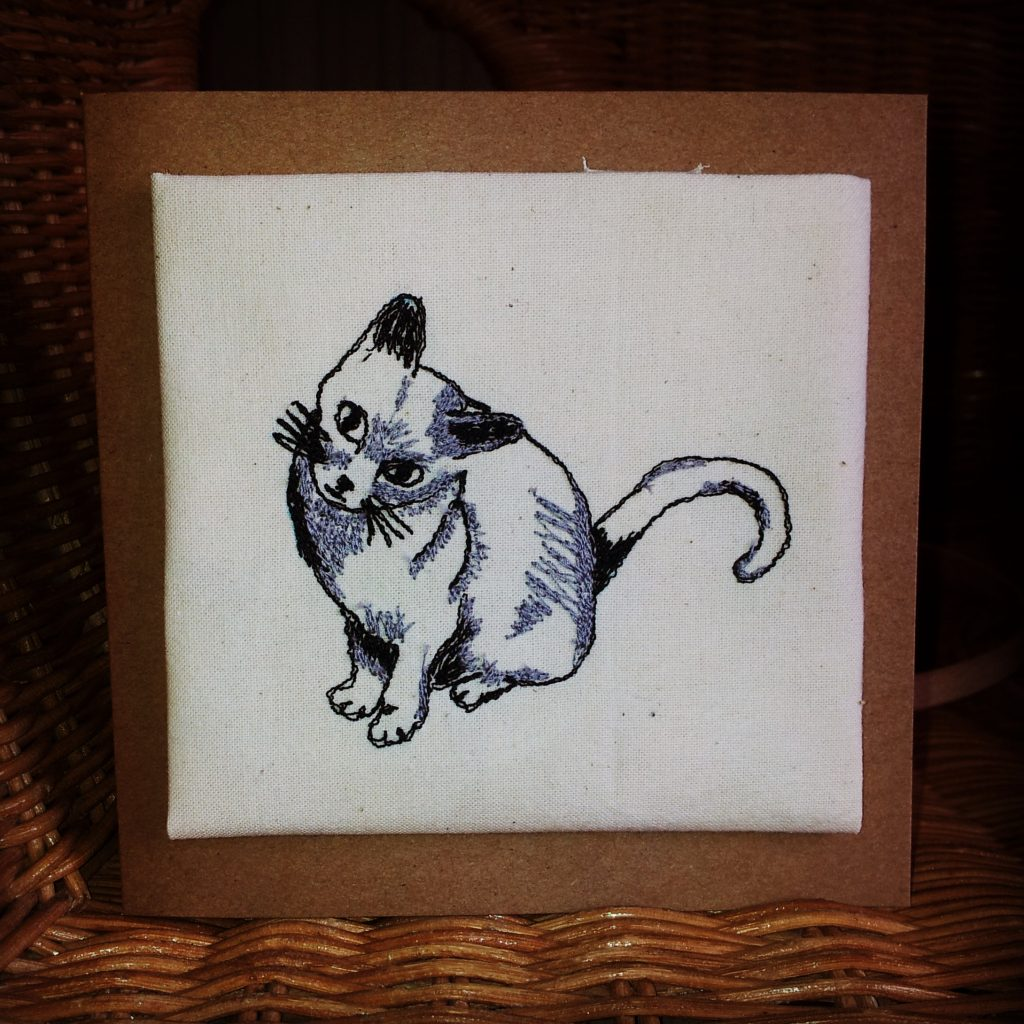 Cat Card made using Machine embroidery