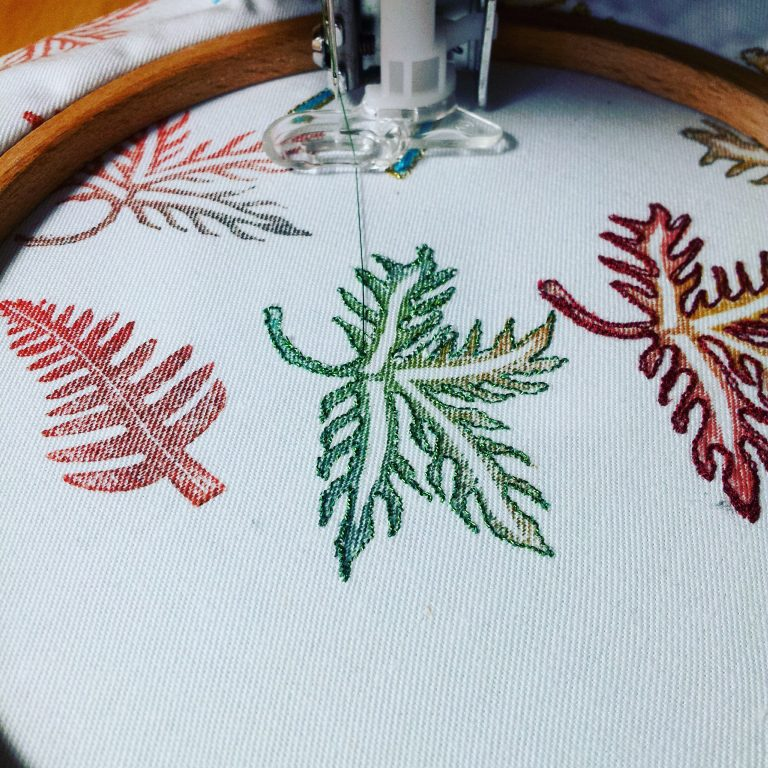 Machine embroidery - leaves