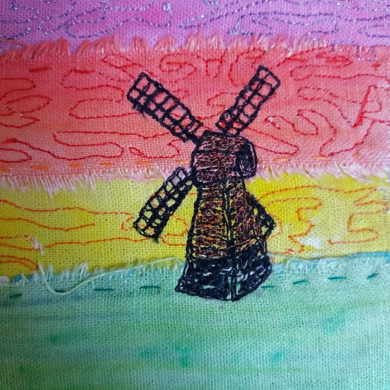 windmill landscape card design