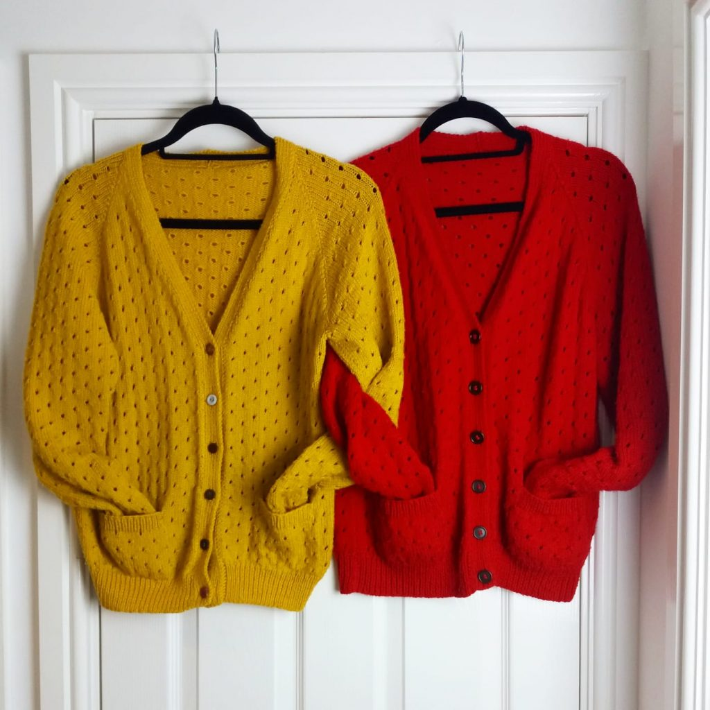 Handmade Clothes - Red and Yellow knitted cardigans